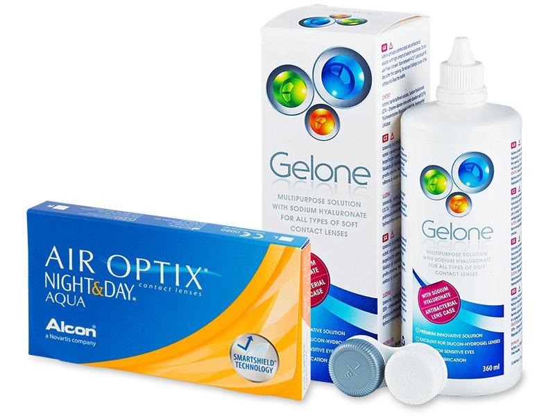 Air Optix Night and Day Aqua (6 čoček) +roztokGelone360ml