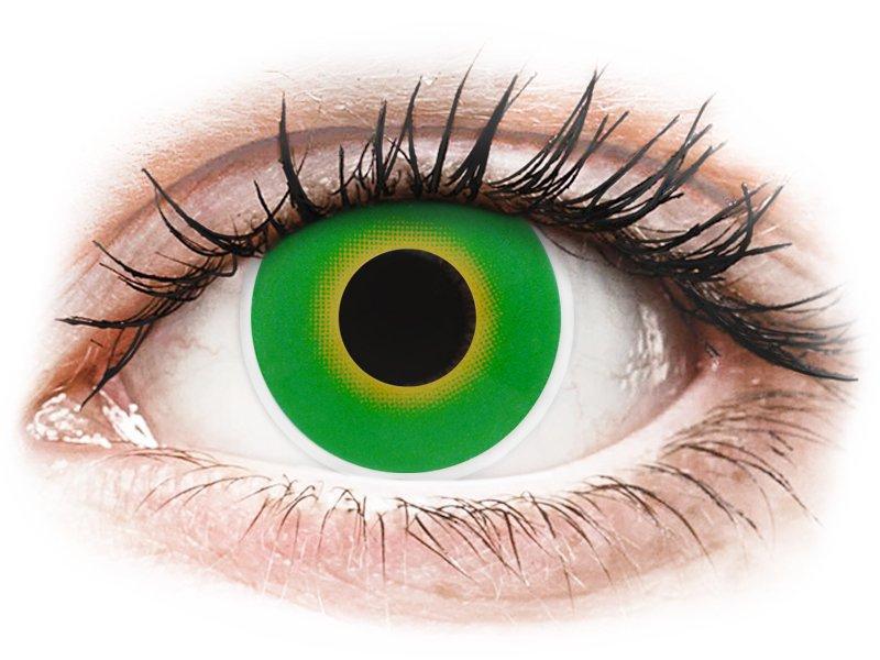 Maxvue Vision ColourVUE Crazy Lens - nedioptrické (2 čočky) Hulk Green dioptrie 0.00, zakřivení 8.60, průměr 14.00