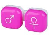 Kontaktní čočky - Pouzdro na čočky muž a žena - růžové