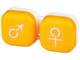 Kontaktní čočky - Pouzdro na čočky muž a žena - žluté