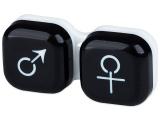 Kontaktní čočky - Pouzdro na čočky muž a žena - černé