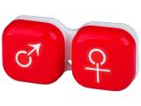 Kontaktní čočky - Pouzdro na čočky muž a žena - červené