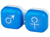 Kontaktní čočky - Pouzdro na čočky muž a žena - modré