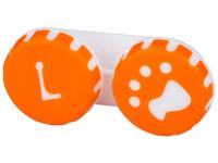 Kontaktní čočky - Pouzdro na čočky Tlapka - oranžové