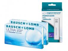 Bausch + Lomb ULTRA (2x6 čoček) + powerbanka Esperanza 2400mAh