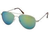 Kontaktní čočky - Sluneční brýle Silver Aviator - Blue/Green