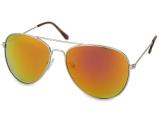 Kontaktní čočky - Sluneční brýle Silver Aviator - Pink/Orange